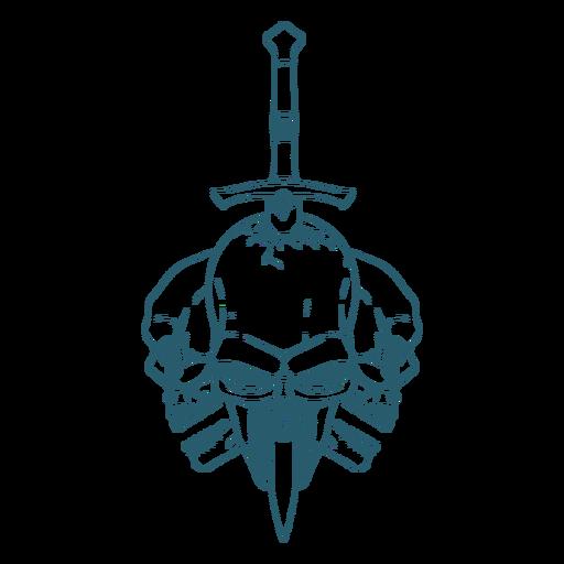 Three skulls sword line art