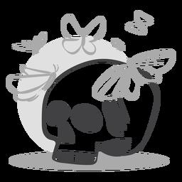 Doodle de mariposas de cráneo