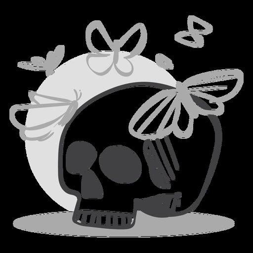 Skull butterflies doodle