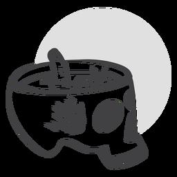 Doodle espeluznante de cráneo abierto
