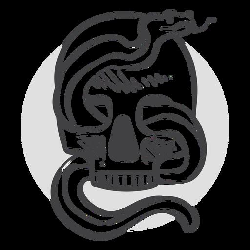 Snake inside skull doodle