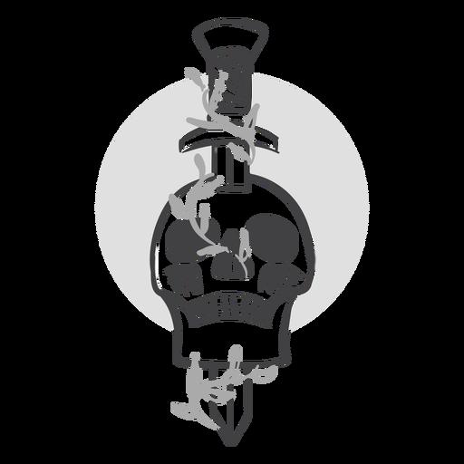 Sword in skull doodle Transparent PNG