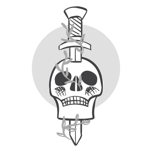 Sword in skull doodle