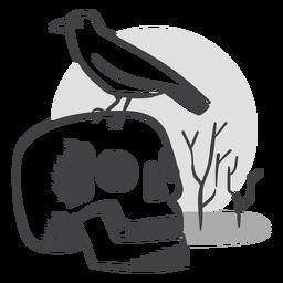 Doodle de cuervo de cráneo