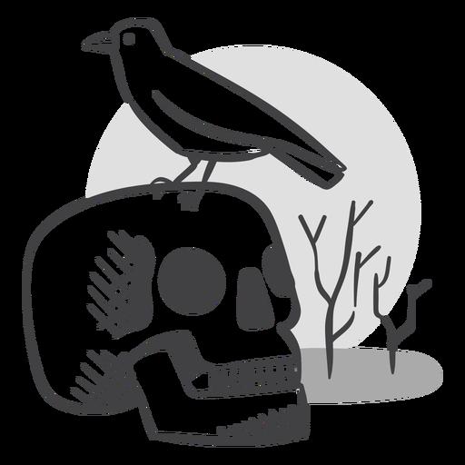Skull crow doodle Transparent PNG