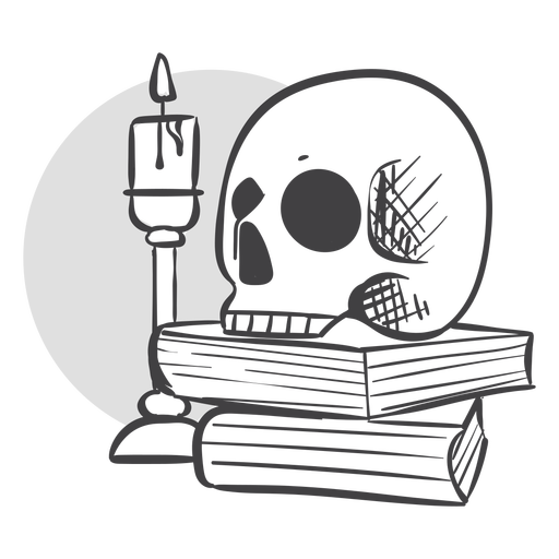 Skull candle and books doodle Transparent PNG