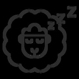 Traço do ícone contando ovelhas