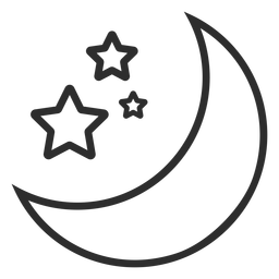 Moon and stars stroke