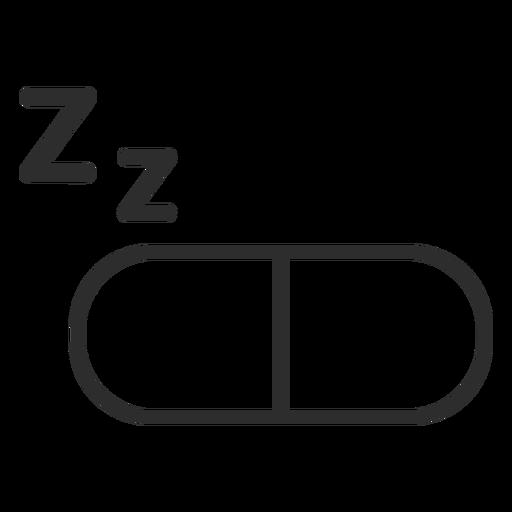 Icono de trazo de pastilla para dormir