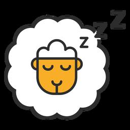 Traço colorido do ícone contando ovelhas