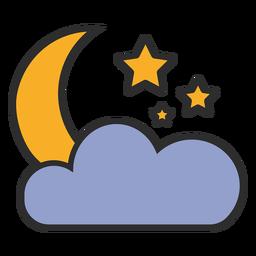 Trazo de color de luna y nube