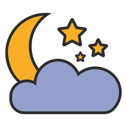 Moon and cloud color stroke