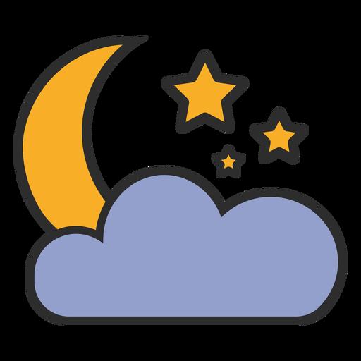 Traço colorido da lua e da nuvem