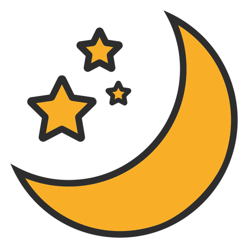 Moon and stars color stroke
