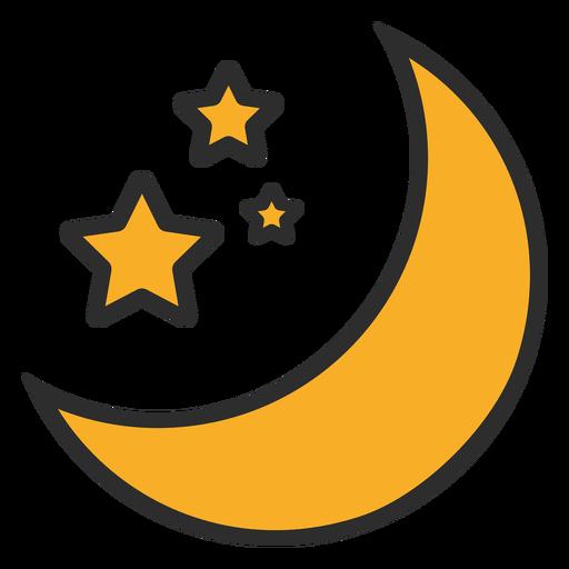 Trazo de color de la luna y las estrellas.