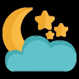 Moon and stars sky flat