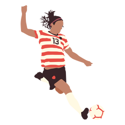 Man soccer player kicking flat