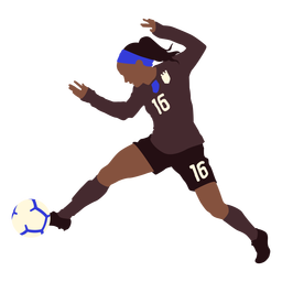 Female soccer player kicking football flat