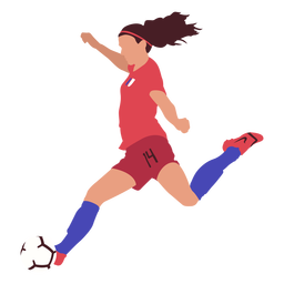Woman soccer player kicking football flat