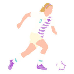 Woman soccer player kicking flat