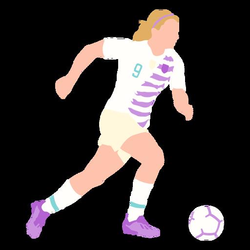Woman soccer player kicking flat