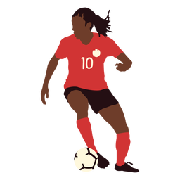 Soccer player kicking ball flat