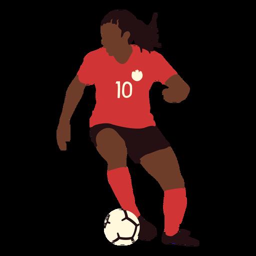 Soccer player kicking ball flat