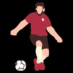 Male soccer player kicking ball flat
