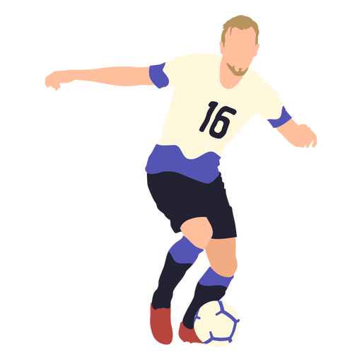 Soccer player playing flat Transparent PNG