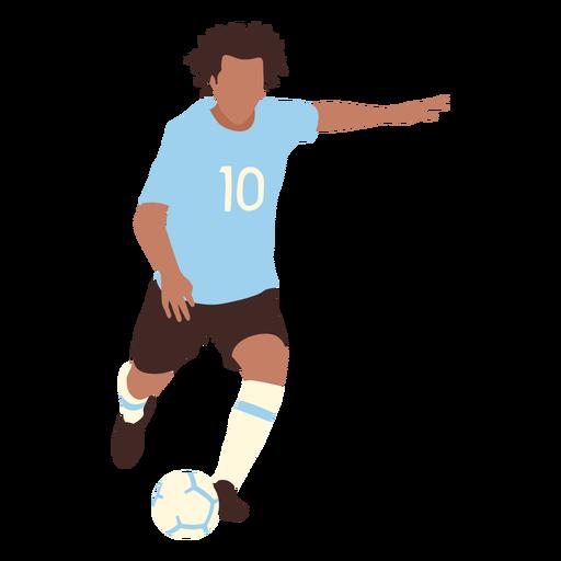 Male player kicking ball flat