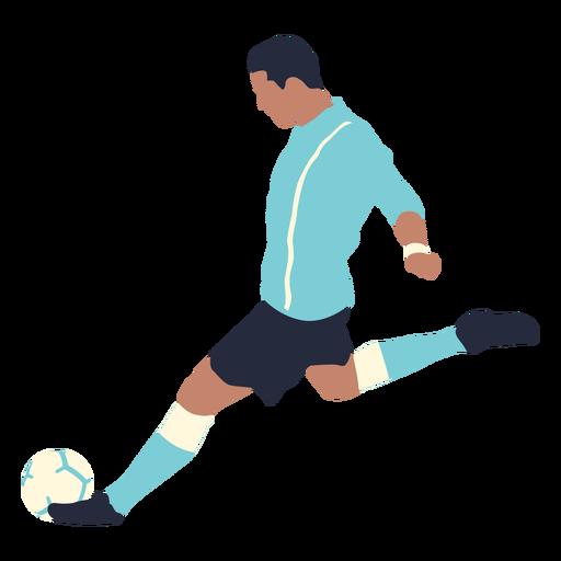 Male soccer player kicking football flat