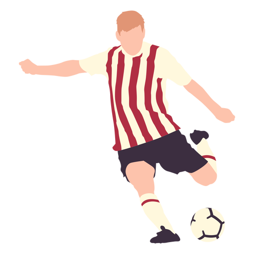 Soccer player kicking football flat