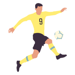 Male player kicking football flat