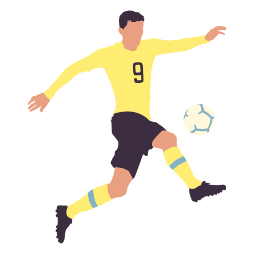 Male player kicking football flat