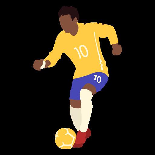 Man soccer kicking football flat