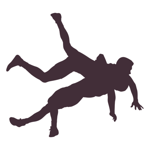 Professional wrestlers hold silhouette