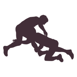 Wrestlers attack silhouette