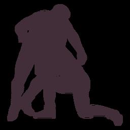 Wrestlers lock professional silhouette