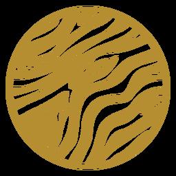 Insignia redonda con estampado de cebra