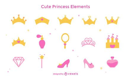 Cute princess elements flat set