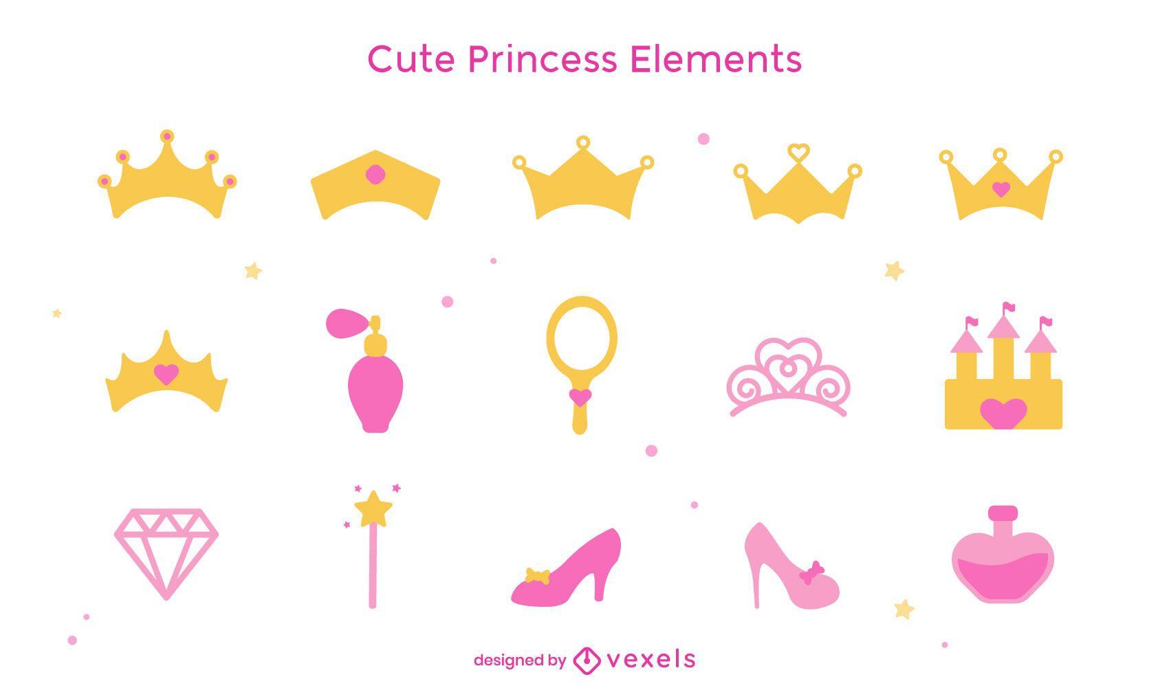 Cute princess elements flat set