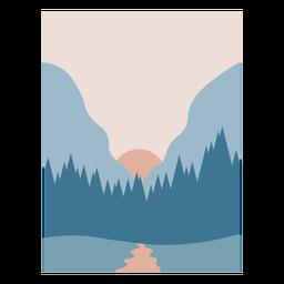 Blue forest landscape