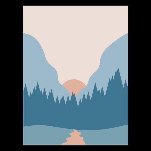 Paisaje de bosque azul