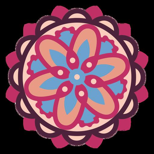 Mandala floral rosa plana