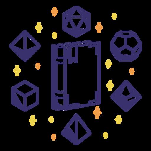 Book magic rpg dice design Transparent PNG