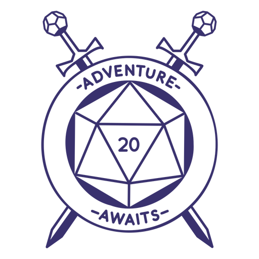 RPG dice with swords badge