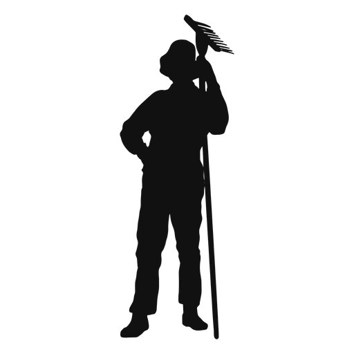 Farmer holding rake silhouette Transparent PNG