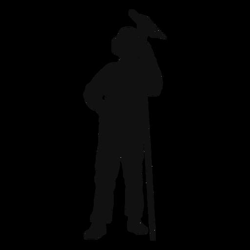 Farmer holding rake silhouette