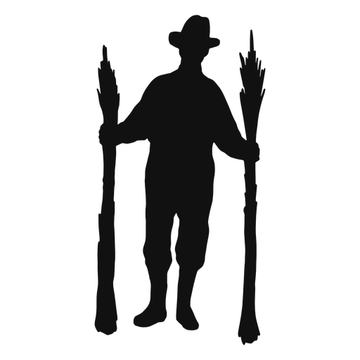 Farmer working silhouette
