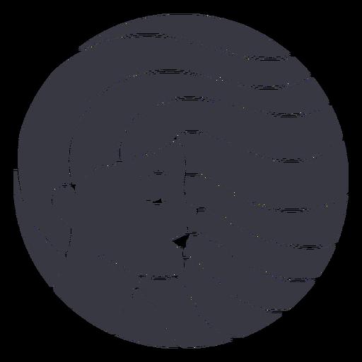 Flowing hair woman badge